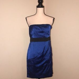 ✨NEW Satin Blue Dress. Express.  Ruched Detail. 2